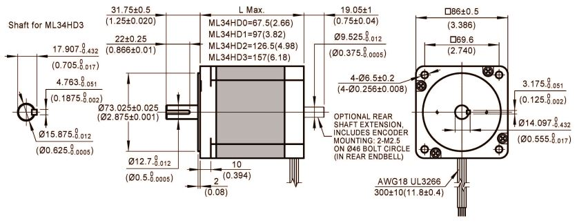 stepper motor ML34HD dimensions