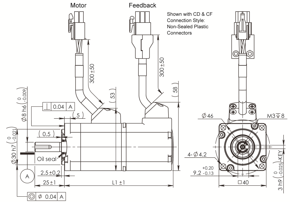 AC Servo Motor SM040 dimensions without brake