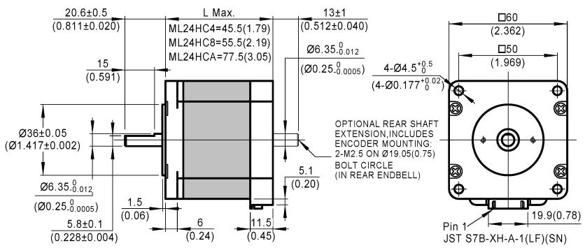 3-Phase Stepper Motor ML24HC dimensions