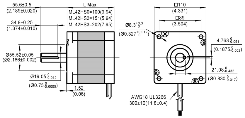 stepper motor ML42HS dimensions