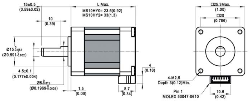 stepper motor MS10HY dimensions