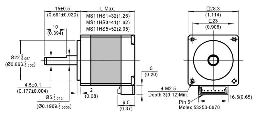 stepper motor MS11HS dimensions