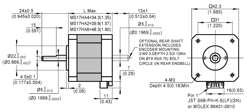 stepper motor MS17HA dimensions