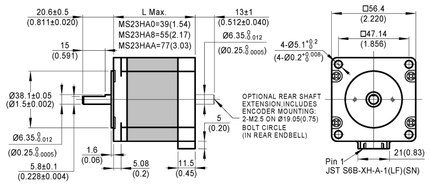 stepper motor MS23HA dimensions