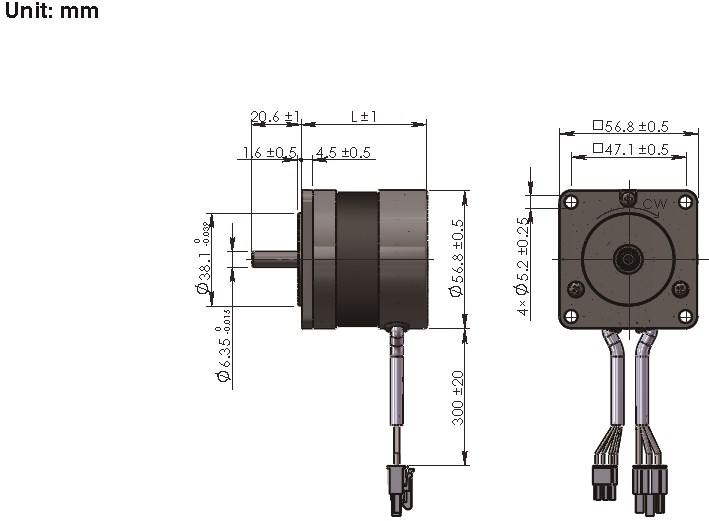 Brushless DC Motor R57BLDC dimensions