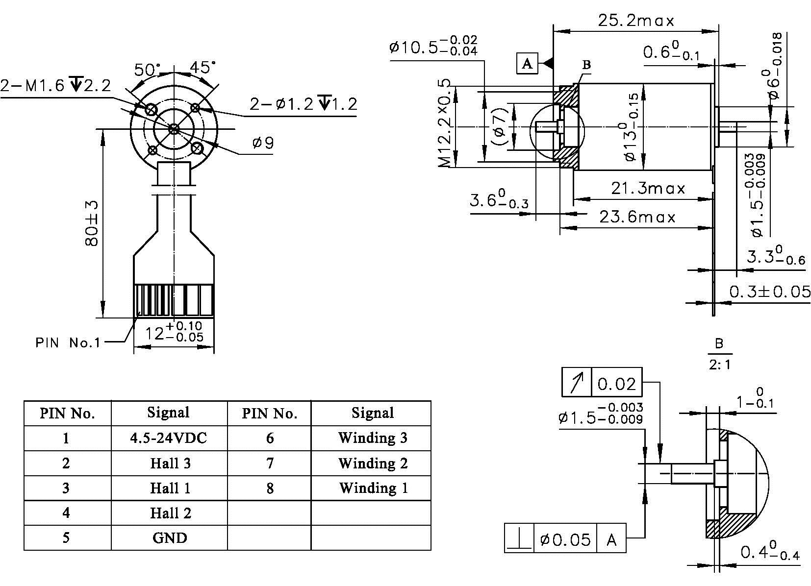 Slotless High Speed Brushless DC Motor ECU13 dimensions
